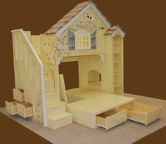 """Dollhouse bunk bed twin (mattress) over full. Included with this design is a staircase with drawers and pedestal with drawers and """"hidden storage""""."""