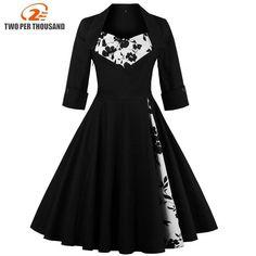 d59e41e7dc 3XL 4XL 5XL Plus Size Women Clothing Pin UP Vestidos Spring Autumn Retro  Casual Party Robe Rockabilly 50s 60s Vintage Dresses