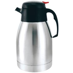 Brentwood 1.2 Liter Vacuum Coffee Pot Stainless Steel. High-quality stainless steel  1.2L capacity Vacuum insulated  Keeps beverages hot or cold for hours  Easy push & pour  Great for school office & travel