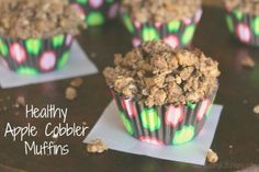 Healthy Apple Cobbler Muffins (With Easy, Make-Ahead Tips!) from Two Healthy Kitchens - Comforting, delicious apple cobbler in a portable muffin! Bursting with apple flavor under a crunchy cobbler topping. Really healthy and freezes great!