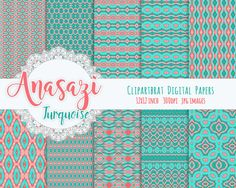 ANASAZI TURQUOISE Digital Paper Pack Commercial Use by ClipArtBrat