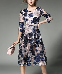 Love this Blue & Beige Floral Dress on #zulily! #zulilyfinds