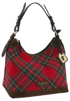 Go plaid with the tartan Erica canvas hobo by Dooney   Bourke. f90ae716ee6ca