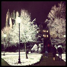 SJU. Snowy, pretty campus. Philadelphia