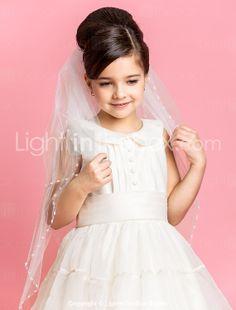 Three-tier Fingertip Wedding Flower Girl Veil With Beaded Edge - USD $ 24.99