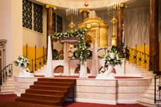 Floral chuppah at a synagogue wedding