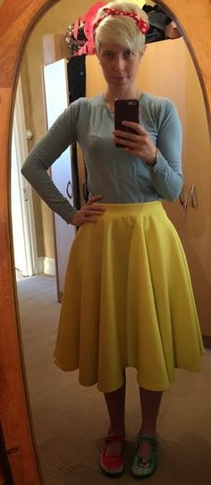 The Girl With Nothing to Wear: Blue jumper, yellow skirt, work style, spring style