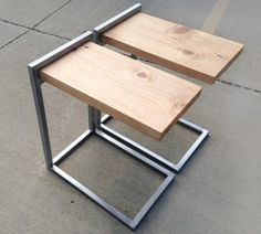 wood and steel table Welded Furniture, Iron Furniture, Steel Furniture, Industrial Furniture, Table Furniture, Furniture Design, Wood Steel, Wood And Metal, Table Haute