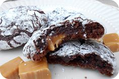 Caramel Chocolate Brownie Crinkle Cookies Recipe.