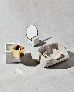 "Cube base with 6"" round mirror, brass edges and rubber backing. The perfect addition to your desk or vanity. Packed and shipped in a protective box ready for gifting. Mirror 3, Round Mirrors, Sustainable Gifts, Sustainable Living, Footer Design, Milk Shop, Recycled Rubber, Large Rugs, One Design"