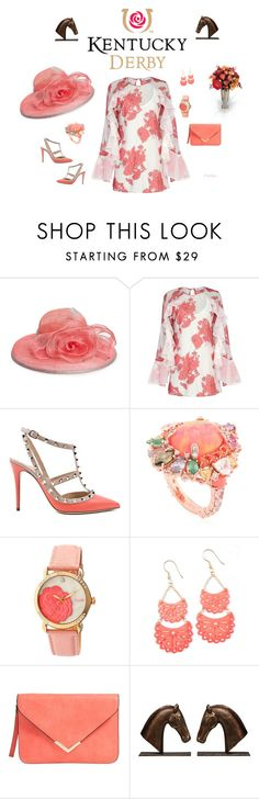 """""""#derby3"""" by peggysoans ❤ liked on Polyvore featuring August Hat, Alice McCall, Valentino, Anabela Chan, Bungalow 5 and Allstate Floral"""