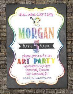 Art Party Birthday Invitation, Chalkboard Art Party, Art Birthday, Paint Party Birthday Party 5x7 Photo Boy or Girl - Custom Printable