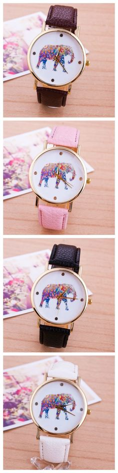 Elephant Colorful Face Pu Leather Brown Band Unisex Watch