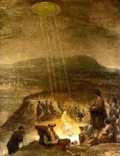 "Aliens and UFOS in Ancient Art ~ ""The Baptism of Christ"" was Painted in 1710 by Flemish artist Aert De Gelder depicts a classic, hovering, silvery, saucer shaped UFO shining beams of light down on John the Baptist and Jesus. Ancient Aliens, Aliens Und Ufos, Ancient History, Art History, European History, American History, Asian History, Tudor History, British History"