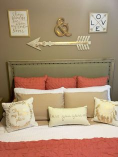 Coral, Taupe Bedroom With Gold Accents.