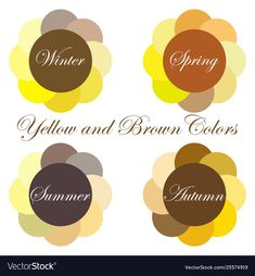 Stock vector seasonal color analysis palettes with yellow and brown colors for W. - Stock vector seasonal color analysis palettes with yellow and brown colors for Winter, Spring, Summ - Deep Autumn Color Palette, Soft Summer Palette, Deep Winter Colors, Spring Colors, Fall Inspiration, Dark Autumn, Winter Typ, Seasonal Color Analysis, Color Me Beautiful