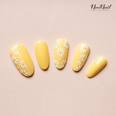 When you might want to do manicure or pedicure in the home, it is critical to possess expertise in it. Daisy Nail Art, Daisy Nails, Floral Nail Art, Flower Nails, Yellow Nails Design, Yellow Nail Art, Classy Acrylic Nails, Best Acrylic Nails, Bright Gel Nails