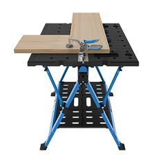 Mobile Project Center - Work Supports - Workspace Solutions - Kreg Tool Company Diy Projects To Try, Wood Projects, Woodworking Projects, Built In Storage, Storage Shelves, Kreg Jig K5, Mobile Project, Assembly Table, Kreg Tools