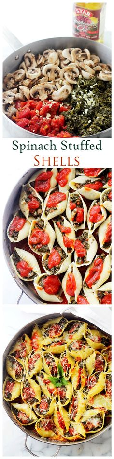 Stuffed Shells Florentine - Jumbo Pasta Shells stuffed with a flavorful spinach, tomato, and mushroom mixture.