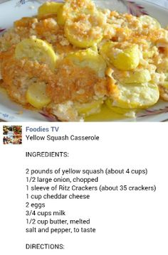 Yellow Squash Casserole INGREDIENTS: 2 pounds of yellow squash (about 4 cups) large onion, chopped 1 sleeve of Ritz Crackers (about 35 crackers) 1 cup cheddar cheese 2 eggs cups milk cup butter, melted salt and pepper, to taste Side Dish Recipes, Vegetable Recipes, New Recipes, Cooking Recipes, Favorite Recipes, Recipies, What's Cooking, Yellow Squash Casserole, Easy Squash Casserole