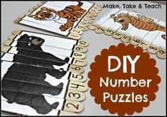 Combine visual learning and numerical ordering with these DIY number puzzles. Children have to arrange the numbers first, looking to the puzzle as clues to see if they're doing it correctly, which aids in self-assessment skills. Math Classroom, Kindergarten Math, Teaching Math, Learning Activities, Preschool Activities, Maths, Teaching Spanish, Educational Activities, Teaching Resources