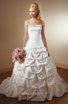 Klasický+Klesl+pas+Bez+rukávů+Jablko+Bílá+Bubble+Hem+Svatební+šaty