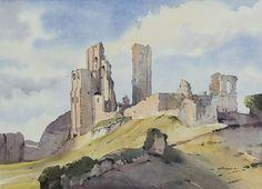 Art Aquarelle, Art Watercolor, Watercolor Painting Techniques, Watercolor Landscape Paintings, Landscape Art, Castle Painting, Corfe Castle, Watercolor Architecture, Thing 1