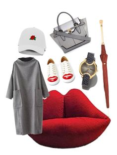 """""""Rojo Mojo"""" by cupcakebandit on Polyvore featuring Charlotte Olympia, River Island, Salvatore Ferragamo and Alexander McQueen"""