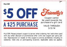 Pinned February 27th: $5 off $25 at Friendlys #restaurant #coupon via The Coupons App