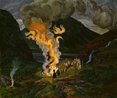 Nikolai Astrup (Norwegian landscape painter, 1880–1928) Bonfire celebrating Midsummer Night, 1912 and 1926. Oil on paper pasted on fiberboard, 89 x 105 cm. National Gallery (Norway), Oslo.