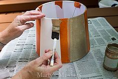 give an old lampshade new life with a little paint and stripes, crafts, home decor, lighting, painting