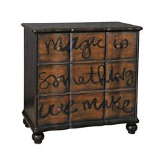 Features:  -Material: Wood composites, Hardwoods.  -Decorative drawer interior wrap.  Distressed: -Yes.  Base Material: -Solid Wood/Manufactured wood. Generic Specifications:  -3 Drawers. Dimensions:
