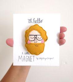 A little Beard Man Magnet Felt, by Katy Pillinger on Folksy, £6.95