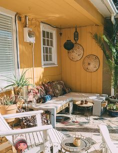 Worldly Influences Down South | Design*Sponge - bench constructed of cinderblock and boards
