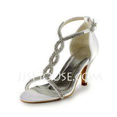 cuero artificial Tacón Stilettos Sandalias Zapatos de Novia con Hebilla Rhinestone (047005860) Precio: €54.36