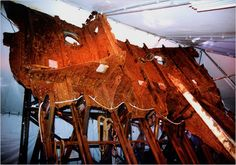 A chunk of the Titanic hull that was lifted out of the ocean