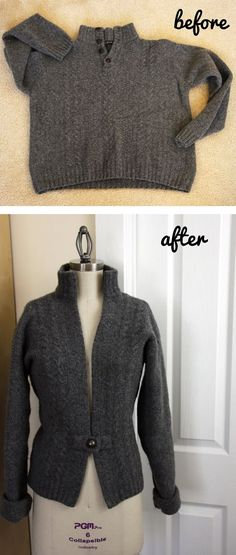 Man's sweater becomes woman's cardigan.  Well done tutorial.