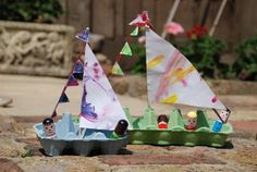 Make boats from egg cartons