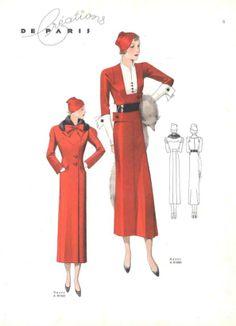 1934 Paris Creations #vintagefashion #1930s #red