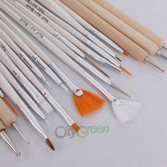 20pcs Nail Art Polish Brush Painting Dotting Pen Set Drawing Liners Tool Case   eBay