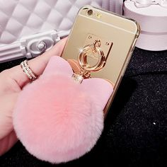 For Iphone 4 4S 5 5S SE 6 6S Plus 7 7 Plus Phone Case Luxury Rabbit Fur Ball Pendant Bowknot Mirror Style Soft TPU Back cover