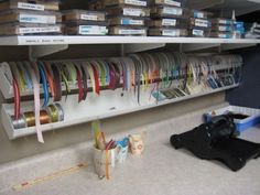 Craft Room Ideas | craft room ideas / Rain Gutter Ribbon organizer!