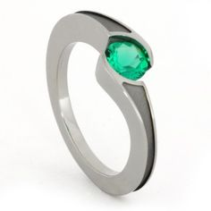 Emerald Tension Set Engagement Ring.