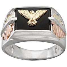 Black Hills Gold Four Tone Onyx Eagle Ring in Sterling Silver ($160) ❤ liked on Polyvore featuring men's fashion, men's jewelry, men's rings, black, mens eagle ring, mens yellow gold rings, mens sterling silver black onyx rings, mens gold eagle rings and mens sterling silver rings