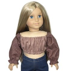 """White Long Sleeve Peasant Top Fits 18/"""" American Girl  Dolls"""