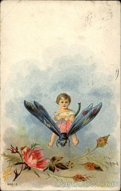 Little Child Riding a Dragonfly Fantasy