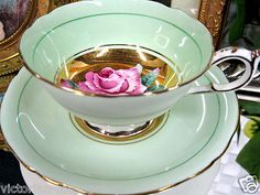 PARAGON VICTORIAN'S TEA CUP AND SAUCER DUO A/F GOLD CENTERS