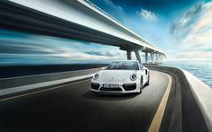 Download wallpapers Porsche 911 Turbo S, 4k, road, 2017 cars, motion blur, supercars, Porsche