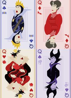 Maleficent, Lady Tremaine, the evil Queen and the Queen of Hearts as Playing Cards Disney Dream, Disney Love, Disney Magic, Disney E Dreamworks, Disney Pixar, Film Disney, Disney Art, Disney Villains, Disney Characters