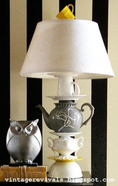 Love this homemade lamp made from mismatched tea sets